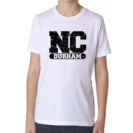 Durham, North Carolina NC Classic City State Sign Boy's Cotton Youth T-Shirt ()