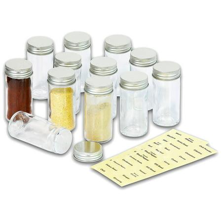 SimpleHouseware 12 Spice Bottles w/ label Set Round 12 Bottles ()