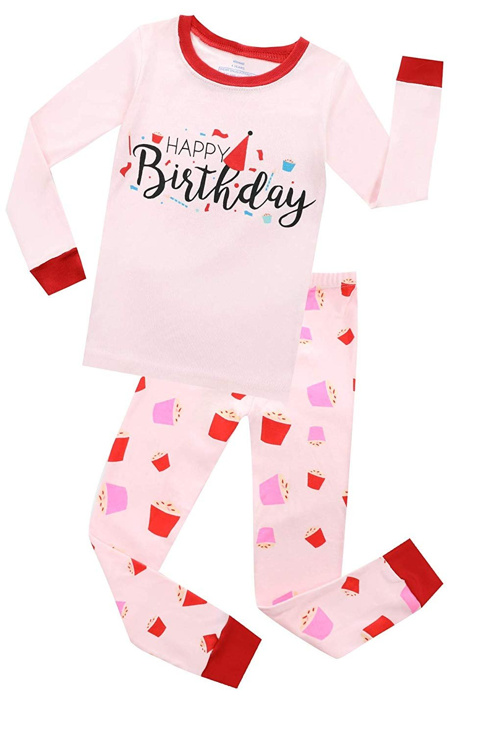 Baby Birthday Girl Pjs Pyjamas STRIPED Ages 1,2,3,4,5 Any Name Cute Soft Pink