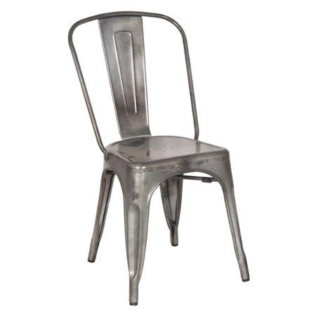 Chintaly Galvanized Steel Dining Chair In Gun Metal