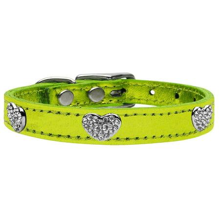 Crystal Heart Genuine Metallic Leather Dog Collar Lime Green 26
