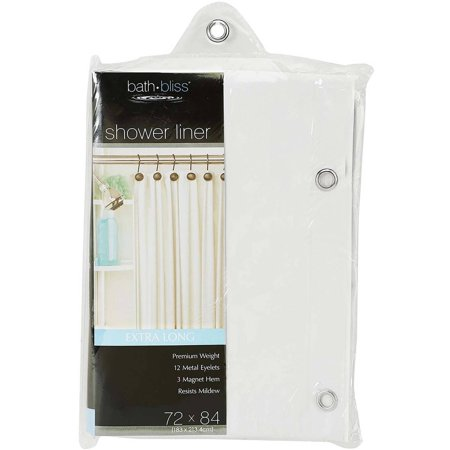 Bath Bliss Shower-Curtain Liner, Extra Long, White (72x84 ...