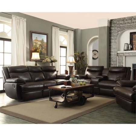 Coaster Macpherson 2 Piece Leather Reclining Sofa Set in Brown