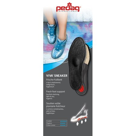 - pedag® VIVA SNEAKER Cotton Terry Orthotic with Sisal Padding Semi Rigid Arch, Met and Heel Pad, Black, Size 8L