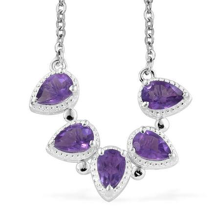 925 Sterling Silver Garnet Sky Blue Topaz Necklace for Women 18