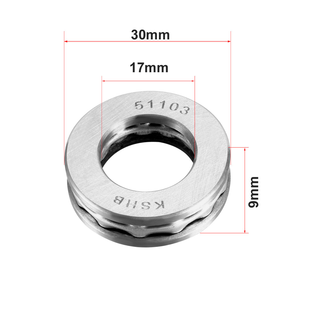 uxcell Carbon Steel Ball Thrust Bearing 51103 17mm x 30mm x 9mm