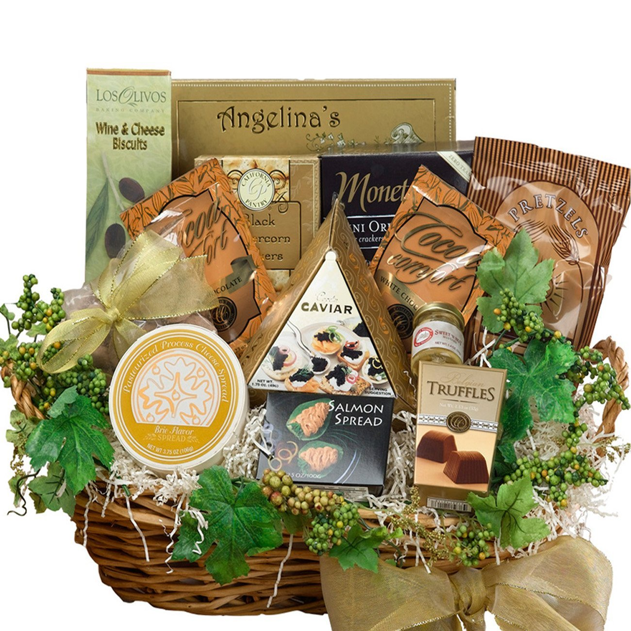 Savory Sophisticated Gourmet Food Gift Basket with Caviar, LARGE (Candy Option) by