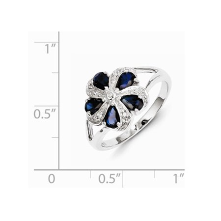 Natural Sapphire Flower Ring 2.00 Carat (ctw) in Sterling Silver - image 1 of 2