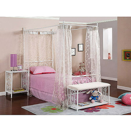 Powell Canopy Wrought Iron Princess Twin Bed, Multiple Colors ()