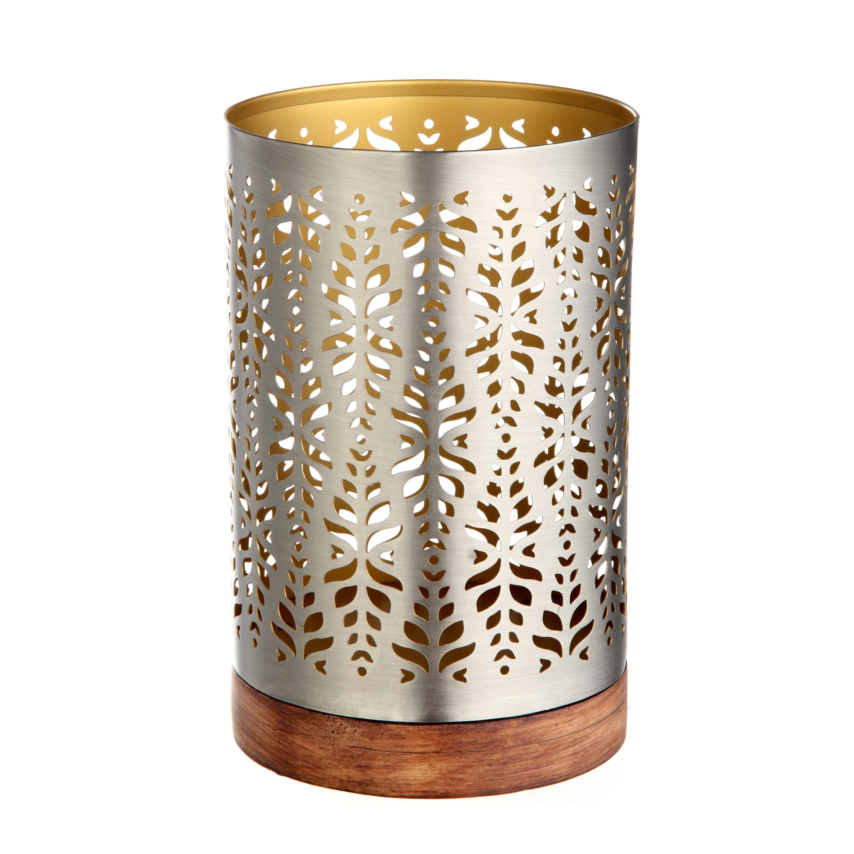 Better Homes & Gardens Metal Wood Hurricane Candle Holder