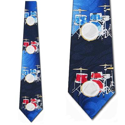 Drum Set Blue and Red Necktie Mens Tie by Steven -