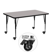 Flash Furniture Mobile 30''W x 48''L Rectangular Activity Table with 1.25'' Thick High Pressure Grey Laminate Top and Height Adjustable Preschool Legs