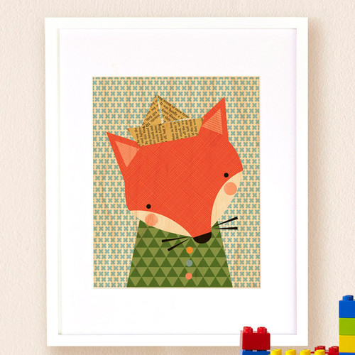 Petit Collage Shy Fox, Small Framed Art