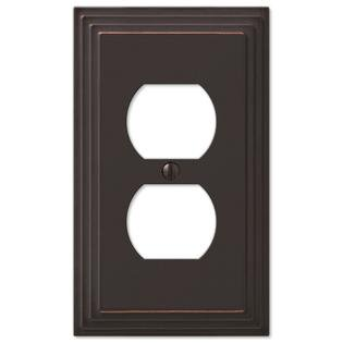 - Step Design Duplex Wall Switch Plate Outlet Cover - Oil Rubbed Bronze