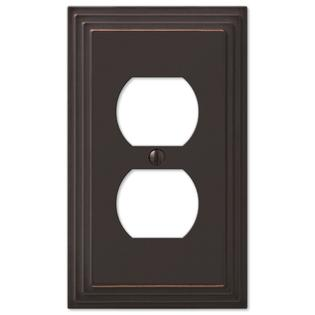 Step Design Duplex Wall Switch Plate Outlet Cover - Oil Rubbed Bronze