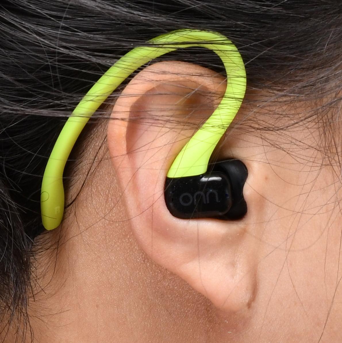 Onn Water-Resistant Sport Earbud Headphones, Neon