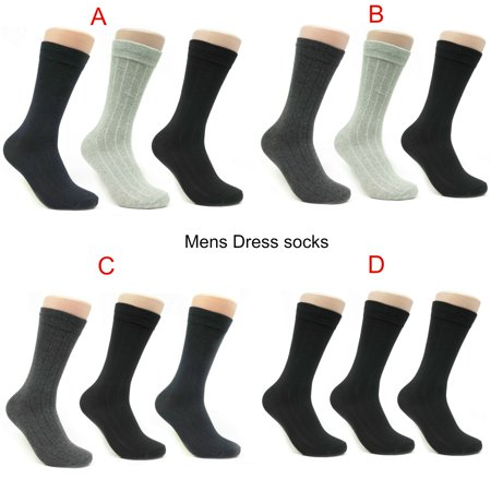 Mens Classic Business Casual Dress Socks 3 or 12 pack