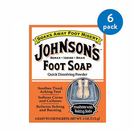 Johnson's Foot Soap, Soaks Away Foot Misery, Quick Dissolving Powder in 4 Easy to use Packets, 4 Ounce