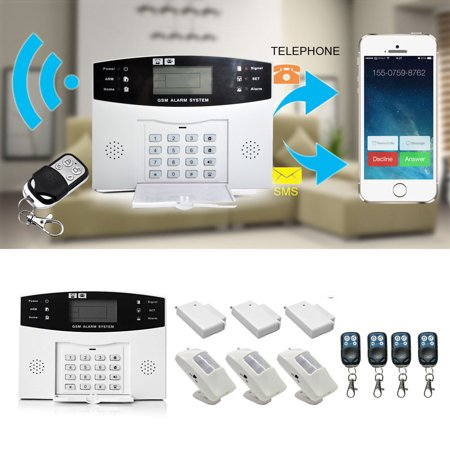 Keypad Entry Alarm - Wireless GSM Home Security Alarm System with Detector Sensor Call Auto Dialing Dialer Door Window Sensor & PIR Infrared & APP Remote Control, White