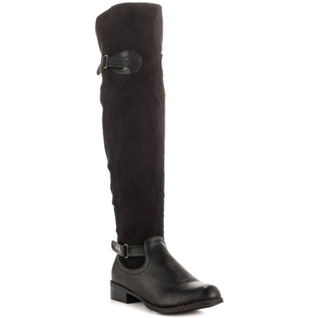 Caliente PartyBus Black synthetic leather Suede Thigh High Buckle Flat Boots (8)