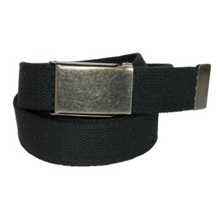 Mens Fabric Belt with Brass Flip Top Buckle, Black