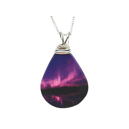 Women's Night Sky Aurora Borealis Necklace - Teardrop Shaped Pendant