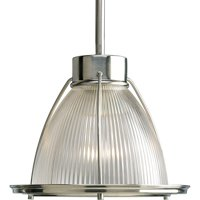 progress lighting p5163-09 1-light stem hung mini-pendant with clear prismatic glass, brushed nickel