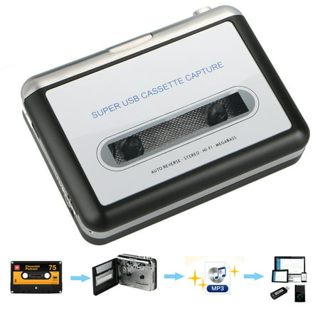 TSV Portable USB Cassette Tape to MP3 PC Converter Capture Stereo Audio  Music Player (Not compatible Mac 10 5 or higher OS)