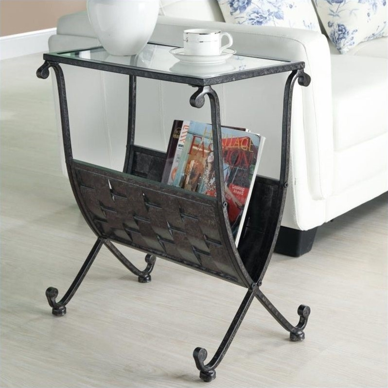 Black/Taupe Mix Metal Magazine Table with Tempered Glass