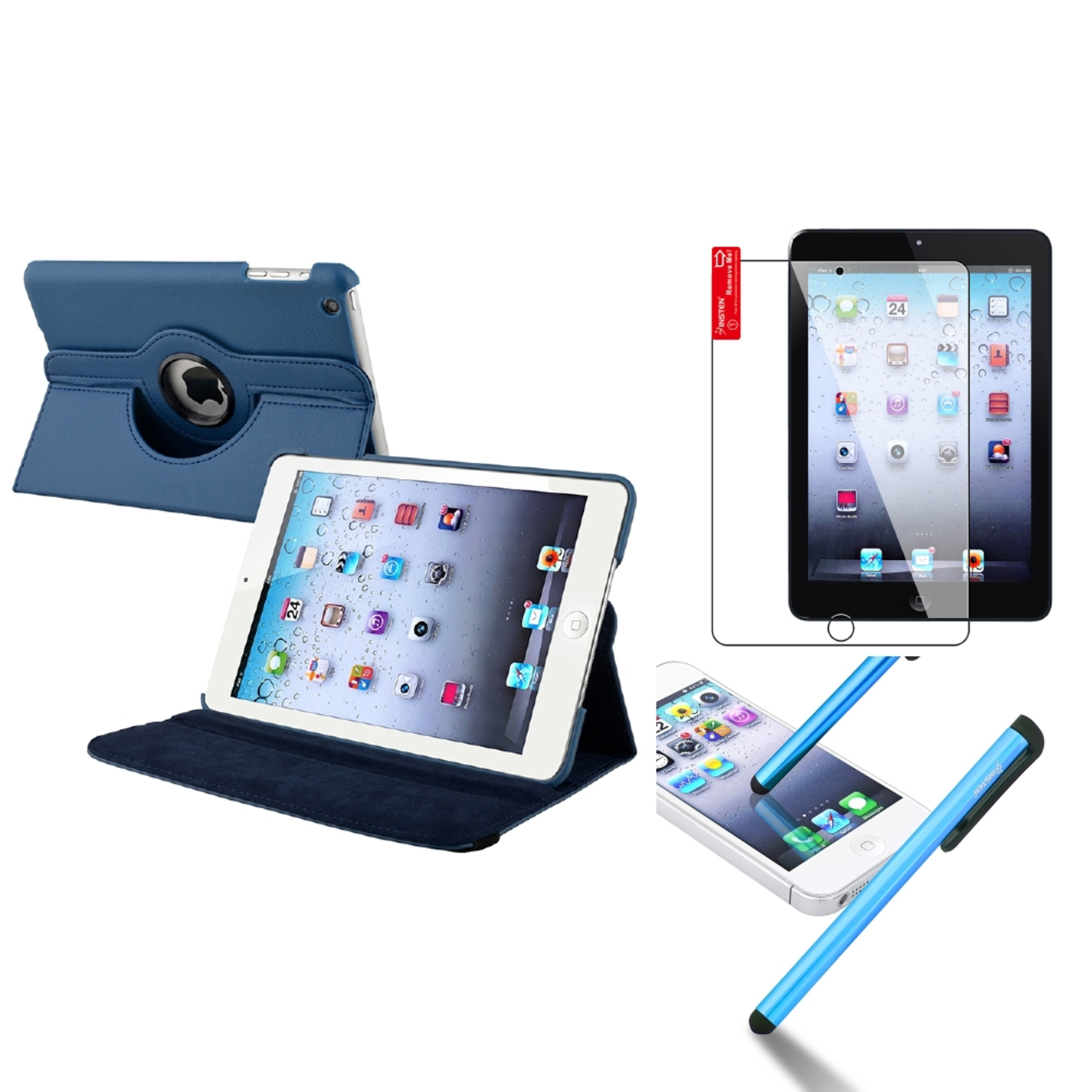 iPad Mini 3/2/1 Case, by Insten For Apple iPad Mini 3rd 3 2nd 1 1st Gen Rotating Leather Case Cover Stand Navy Blue