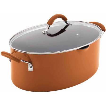 Meyer Rachael Ray Covered Pot - Rachael Ray Cucina Hard Enamel Nonstick 8-Qt Covered Oval Pasta Pot with Pour Spout