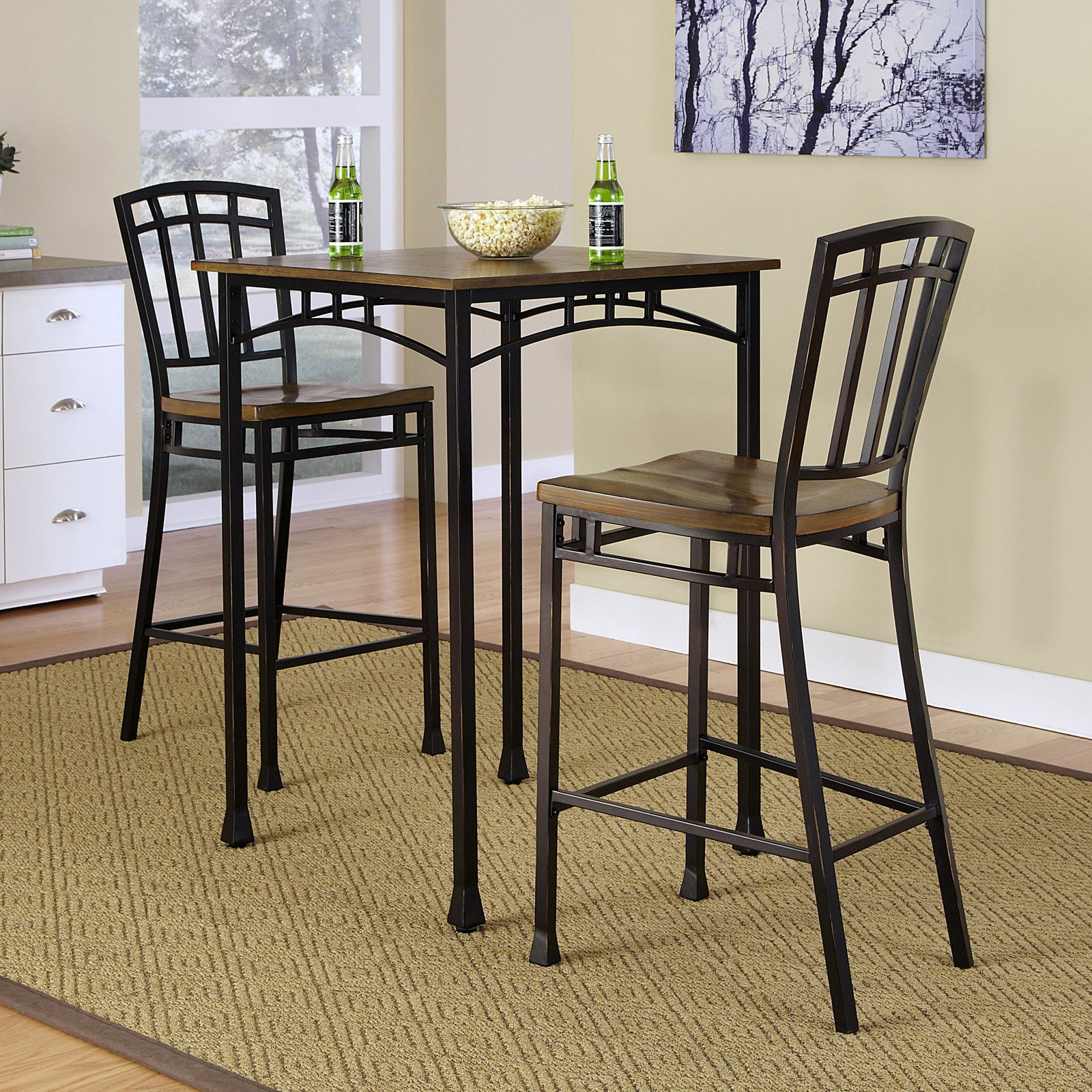 Home Styles Modern Craftsman 3-Piece Bistro Set, Brown - Walmart.com