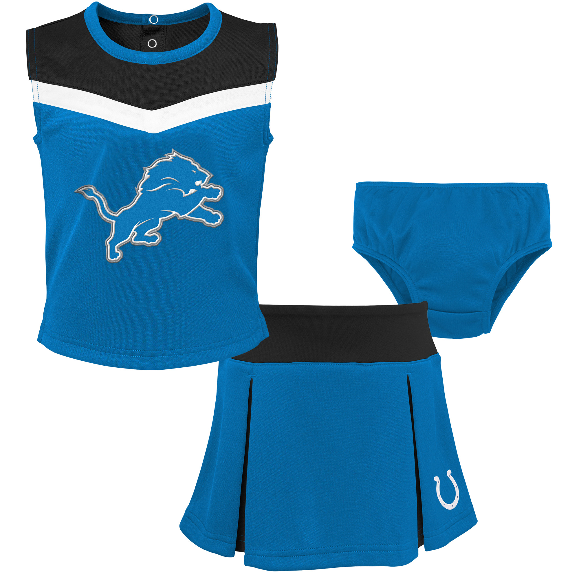 c8de3988 Detroit Lions Girls Toddler Two-Piece Spirit Cheerleader Set with Bloomers  - Blue/Black