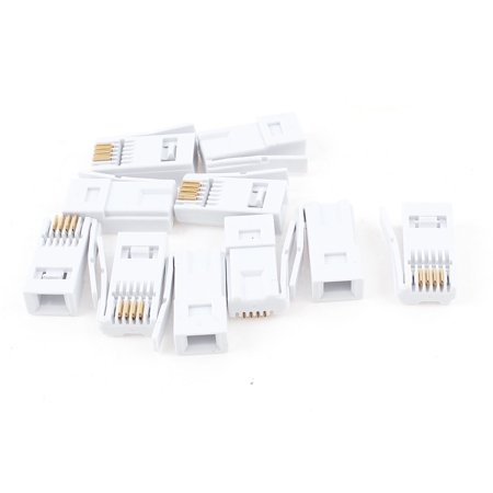 Unique Bargains 10 Pcs RJ11 6P4C 4 Pin UK BT Jack Connector White for Telephone -