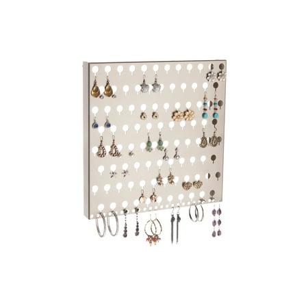 Wall Mount Earring Holder Hanging Jewelry Organizer Closet Storage Rack, Angelynn's Sariea Satin Nickel Silver
