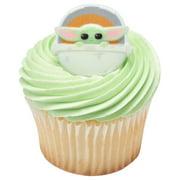 24 Star Wars The Mandalorian - The Child Baby Yoda Cupcake Rings Toppers Decorations
