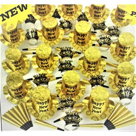 Gold and Black New Years Eve Party Accessories Kit Party Supplies for 100 People 178 Pieces