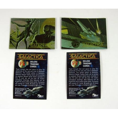 1996 Dart Flipcards Battlestar Galactica Promo Card Set (2) Nm/Mt