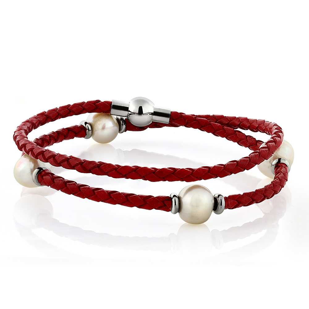 Cultured Freshwater Pear Magnetic Clasp Wrap Red Leather Bracelet
