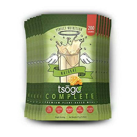 Tsogo 12 Complete Pack, saveur naturelle (miel, soja, sans gluten et sans produits laitiers, riche en fibres et protéines, Faible teneur en calories et glucides, substitut de repas Shake, seulement 200cal / SERV (1 Box-12 portions individuelles)