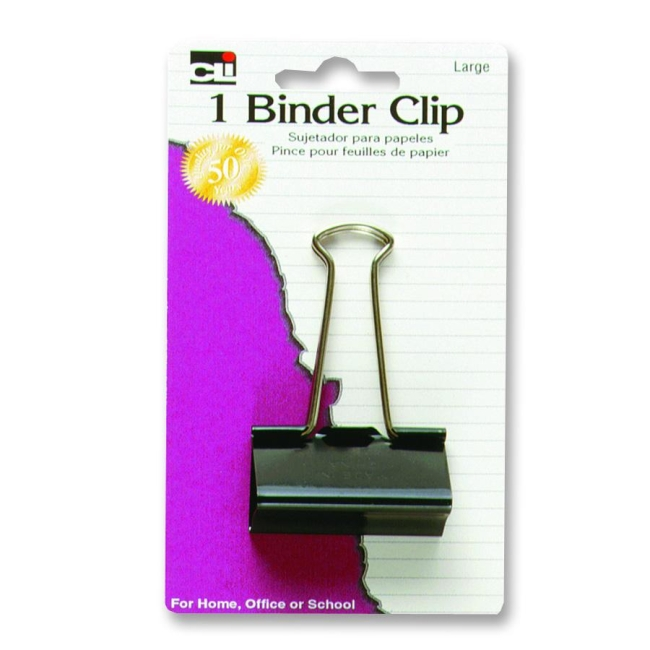 Charles Leonard Co. Binder Clips, Large, 2'', 3/PK, Black/Steel (Set of 5)