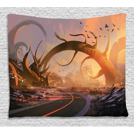 Fantasy Art House Decor Tapestry, Fairy Fiction Design with Mystic Twisted Branches on Highway Sunset, Wall Hanging for Bedroom Living Room Dorm Decor, 80W X 60L Inches, Multi, by Ambesonne