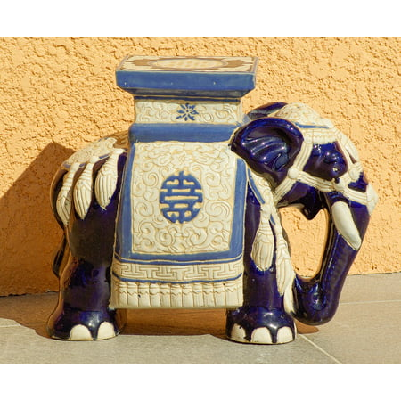 Peel-n-Stick Poster of Elephant Decoration Asia Ceramic Poster 24x16 Adhesive Sticker Poster - Asian Decorations