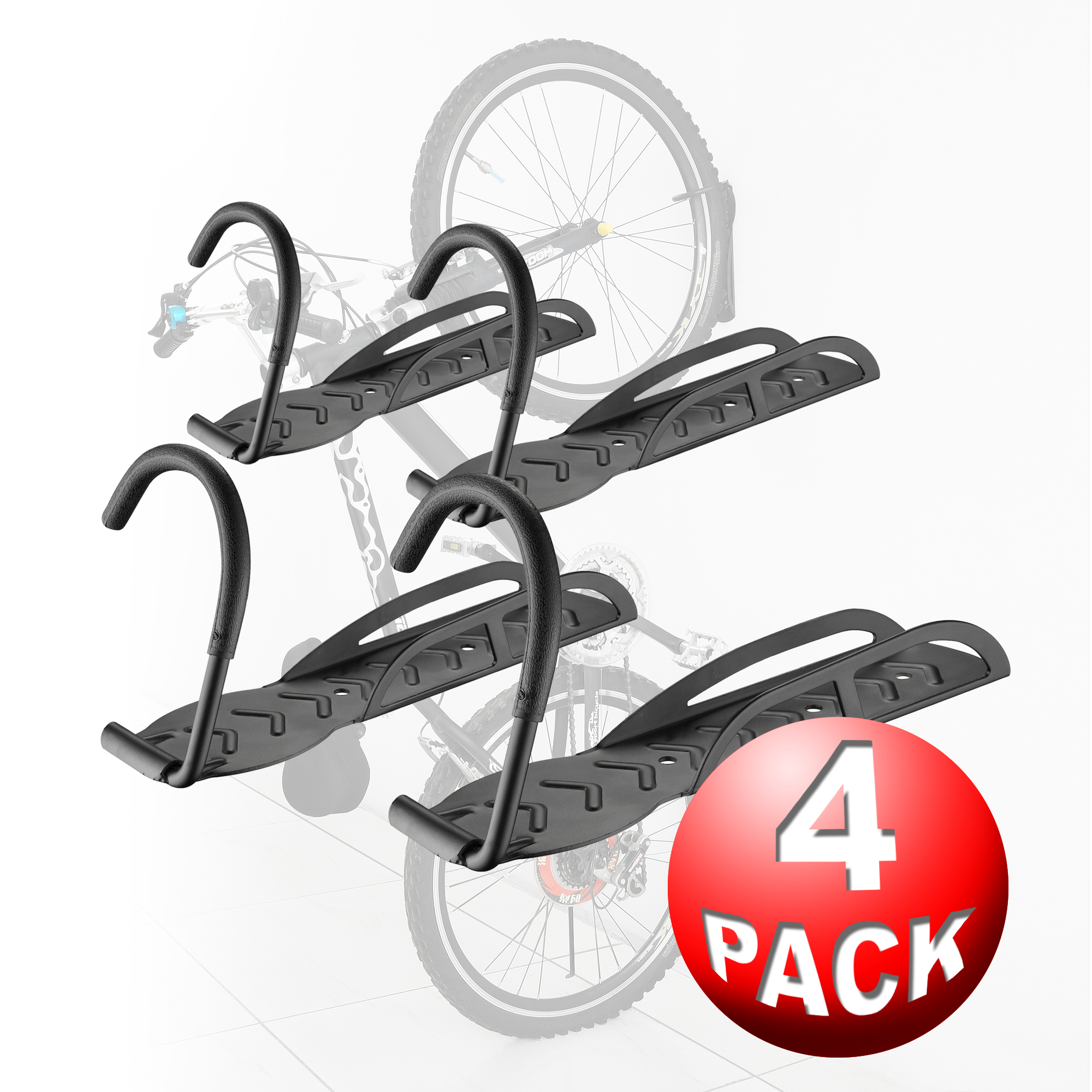 Bike Lane 4 Pack Bicycle Wall Hanger Bike Storage System For Garage or Shed by