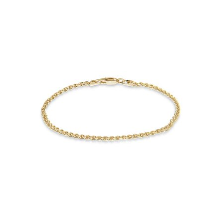 - Gold over Sterling Silver Diamond Cut Wheat Chain Bracelet 7.5 inches