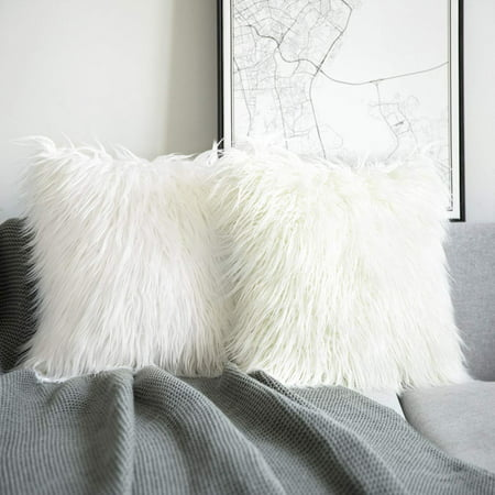 "Phantoscope Merino Style Faux Fur Series Decorative Throw Pillow Cover, 18"" x 18"", White, 2 Pack ()"
