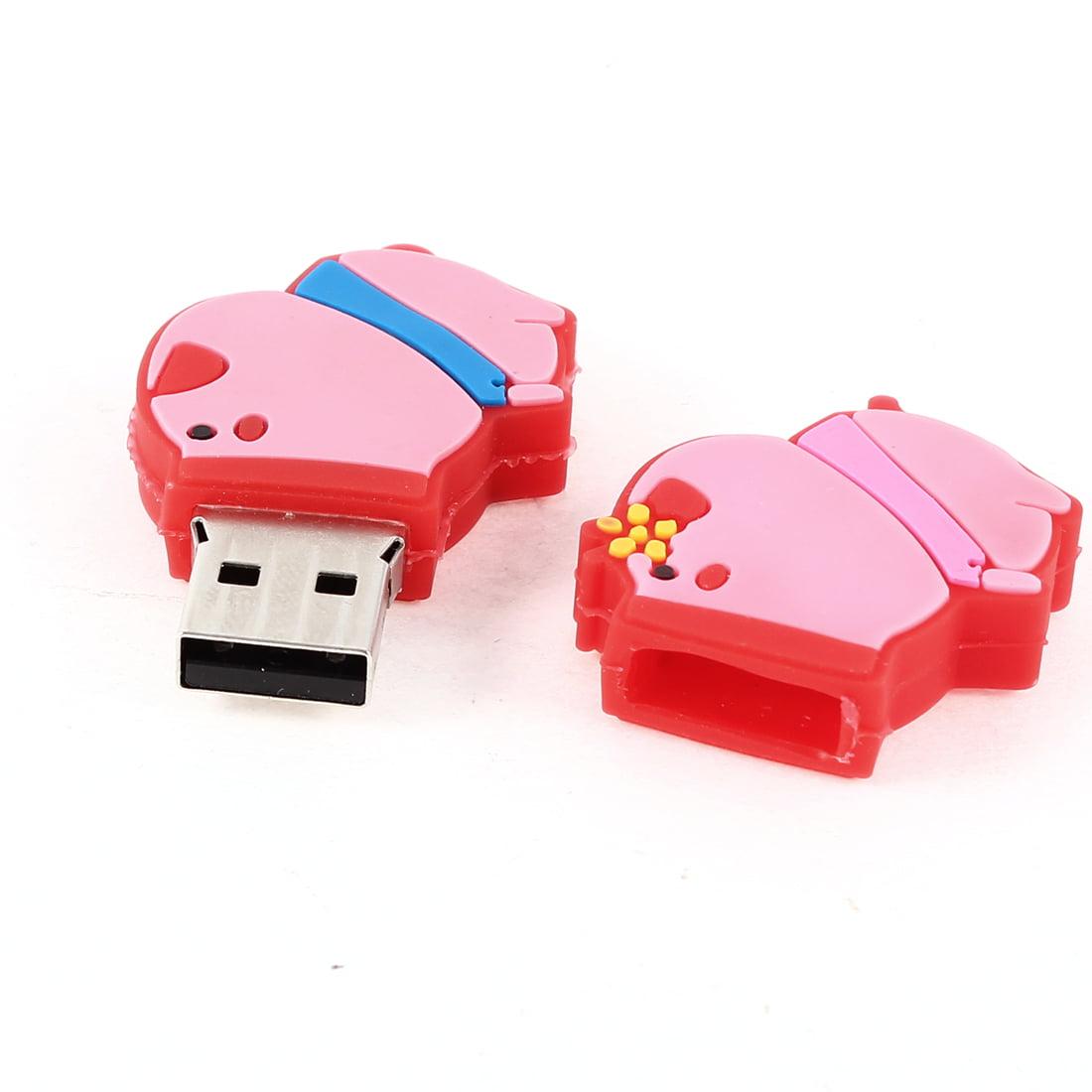 Pink Red Rubber Pig USB 2.0 Flash Memory Drive Storage Media U-Disk 4GB