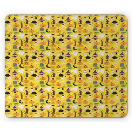 Halloween Styles Psd (Ghost Mouse Pad, Colorful Pattern with Variety of Halloween Elements in Cartoon Style Fun Halloween, Rectangle Non-Slip Rubber Mousepad, Multicolor, by)