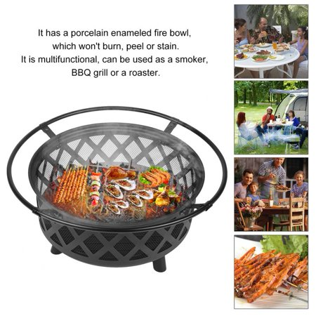 Fire Pit Wood Burning Fireplace Heater Bowl Round Firepit Bbq