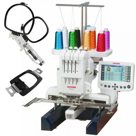 Janome MB-4S Four-Needle Embroidery Machine with included Hat Hoop, Lettering Hoops ()